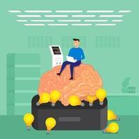 concept de design plat homme d'affaires formation cerveau dans les laboratoires. vecteur illustrent.