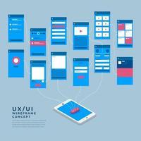 Organigramme ux ui. maquettes concept d'application mobile design plat isométrique. illustration vectorielle. vecteur