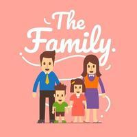 la famille de concept de design plat a un père, une mère et des enfants. illustrations vectorielles. vecteur