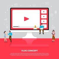 concept de design plat vlog. l'équipe développe une vidéo de chaîne en ligne. vecteur illustrent.