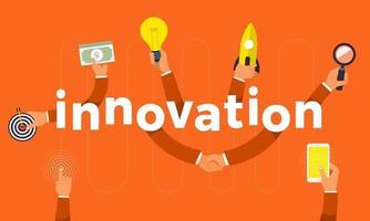 design plat concept main créer icône symbole et innovation de mots. illustrations vectorielles. vecteur