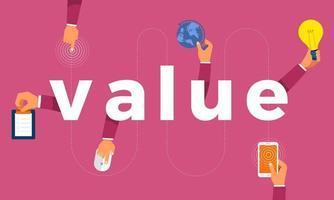 La main de concept de design plat crée l'icône de symbole et la valeur des mots. illustrations vectorielles. vecteur
