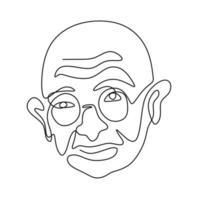un dessin au trait continu de mahatma gandhi. une figure indienne qui était le chef de l'indépendance indienne isolé sur fond blanc. jour de la république de l & # 39; inde, 26 janvier illustration vectorielle vecteur