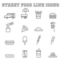 icônes de ligne de nourriture de rue vecteur