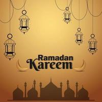ramadan kareem festival islamique créatif avec livre sacré kuran et lanterne arabe vecteur