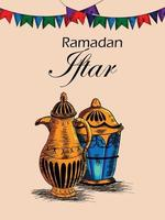 main dessiner fête iftar ou ramadan mubarak fond avec lanterne arabe vecteur