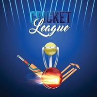 Fond de tournoi de cricket chqampionship avec trophée d'or vecteur