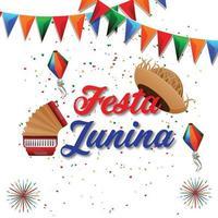 illustration vectorielle festa junina avec guitare, drapeau de fête coloré et lanterne en papier vecteur