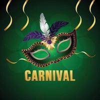 fond d'invitation de carnaval avec masque et fond réalistes vecteur