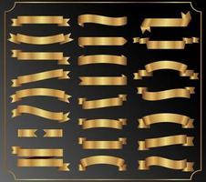 ensemble de rubans dorés vecteur