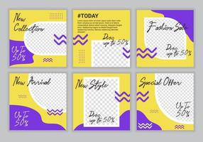 modèle de conception de publication de médias sociaux de vente de mode premium bundle avec fond de couleur jaune et violet. convient aux publications sur les réseaux sociaux et aux publicités Internet. illustration vectorielle vecteur