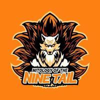illustration de conception de mascotte de logo de sport de tête de renard pour l'équipe de sport et d'e-sport ou de jeu. renard sauvage en colère avec le graphique de l'emblème de la typographie de vêtements de sport de mascotte de neuf queues, timbre de vêtements de sport. vecteur