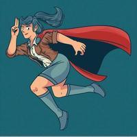 illustration de dessin animé d'un super-héros de femme. jeune fille belle et forte en costume coloré élégant volant avec pose drôle. illustration vectorielle dans un style bande dessinée rétro pop art vintage vecteur