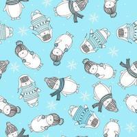 modèle sans couture avec des pingouins drôles dans des vêtements tricotés et des flocons de neige. joyeux noël motif bleu. vecteur