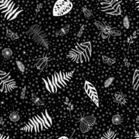 modèle sans couture avec libellules, araignées, papillons et différentes feuilles. fond botanique de fougère. idéal pour la marque, l'emballage, le tissu et le textile, le papier d'emballage. vecteur