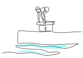 Un dessin au trait continu d'un jeune nageur professionnel pratique la natation piscine intérieure centre sportif style minimaliste dessiné à la main. mode de vie sain et concept de sport. illustration de croquis de vecteur