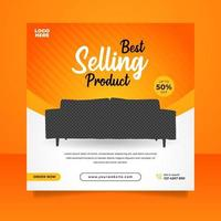bannière de vente de meubles créatifs ou modèle de publication sur les médias sociaux vecteur