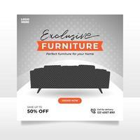 bannière de vente de meubles minimaliste ou modèle de publication sur les médias sociaux vecteur