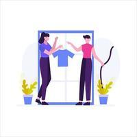 le tailleur fait une illustration vectorielle de commande de vêtements du client vecteur