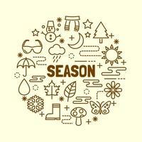 jeu d & # 39; icônes de ligne mince minimale de saison vecteur