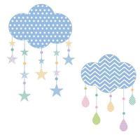 nuages abstraits avec des étoiles et des gouttes de pluie vecteur