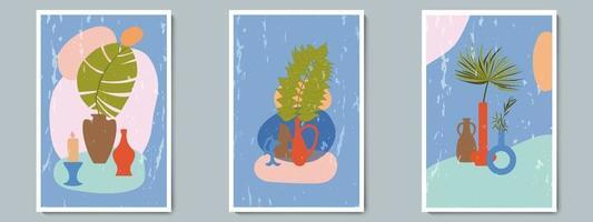main dessiner vase en poterie serti de plantes tropicales et forme abstraite simple. collage à la mode pour la décoration dans le style grec. vecteur