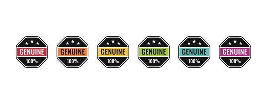 véritable design d'insigne de logo à 100%. icône illustration vectorielle originale pour produit de confiance. vecteur