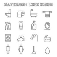 icônes de ligne de salle de bain vecteur