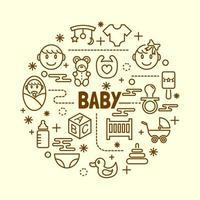 jeu d'icônes de ligne mince minime bébé vecteur