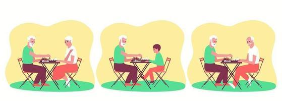 ensemble de personnes jouant aux échecs vecteur