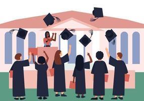 les diplômés jettent des chapeaux de graduation dans le ciel vecteur