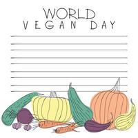 carte postale pour la journée mondiale du végétalien vecteur