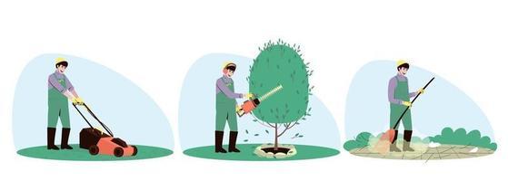 ensemble, de, homme, bricoleur, caractère, jardinage vecteur