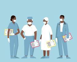 Médecins afro-américains de différents âges et sexes portant des masques et des gants médicaux vecteur