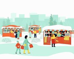 joyeux marché d'hiver vecteur