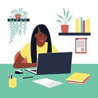 étudiant fille afro-américaine à faire ses devoirs. un ordinateur portable et un livre sont sur la table. concept pour apprendre à la maison en isolement ou faire ses devoirs. illustration vectorielle plane. vecteur