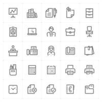 icônes de bureau et de ligne stationnaire. illustration vectorielle sur fond blanc. vecteur