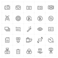icônes de ligne de caméra et de photographie. illustration vectorielle sur fond blanc. vecteur