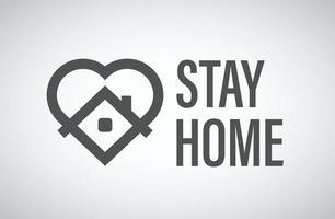 rester à la maison logo vectoriel. logo de la campagne de protection contre les coronavirus avec coeur et maison vecteur