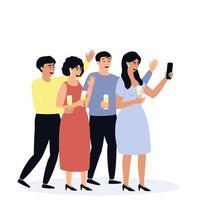 des amis prennent un selfie à la fête. des amis tiennent des verres de champagne. vecteur