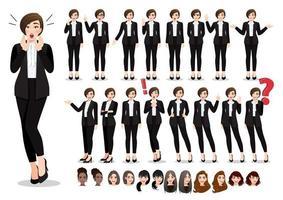 jeu de pose de personnage de dessin animé de femme d & # 39; affaires. belle femme d'affaires en costume noir de style bureau. illustration vectorielle vecteur