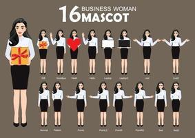 16 mascotte de femme d & # 39; affaires, style de personnage de dessin animé pose illustration vectorielle vecteur