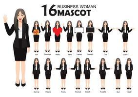 16 mascotte de femme d'affaires en costume noir, style de personnage de dessin animé pose mis illustration vectorielle vecteur