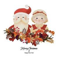 joyeux noël et bonne année avec le père noël et sa femme mrs claus vecteur