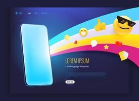 page de destination avec smartphone moderne et emoji web vecteur