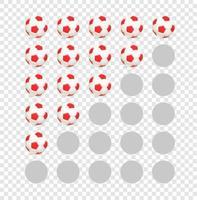 modèle de notation de ballons de football isolé sur fond transparent vecteur