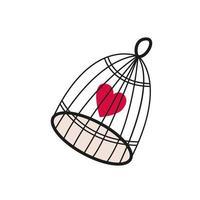 main de cage coeur romantique dessiné isolé sur fond blanc vecteur