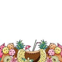 modèle de bannière horizontale avec des fruits juteux tropicaux exotiques bio frais d'été vecteur