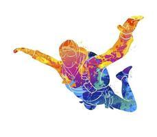 parachutiste abstrait d'éclaboussure d'aquarelles. illustration vectorielle de peintures vecteur