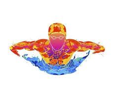 résumé d'un papillon nageur d'éclaboussure d'aquarelles. illustration vectorielle de peintures vecteur
